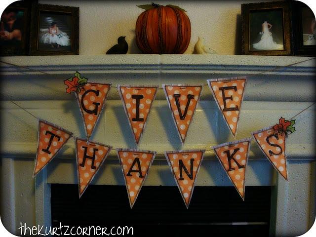 """Give Thanks""  Banner from the Kurtz Corner"