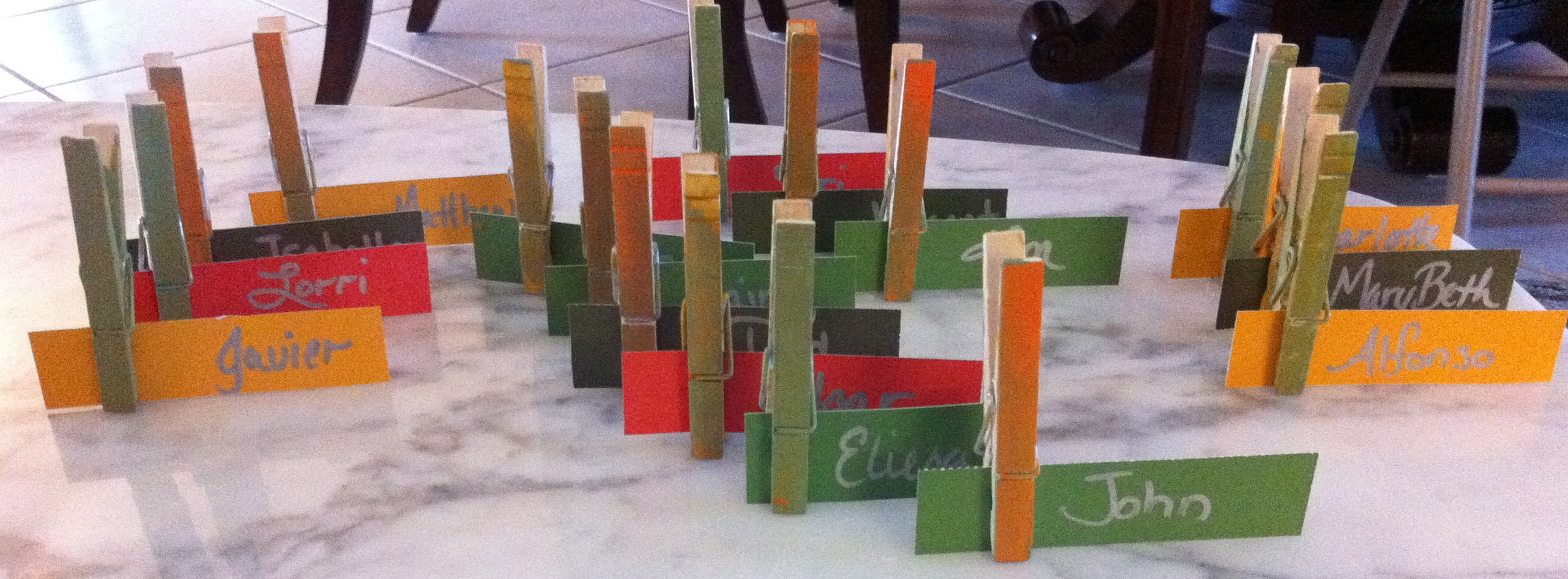 Clothes Pin Place Card Holders