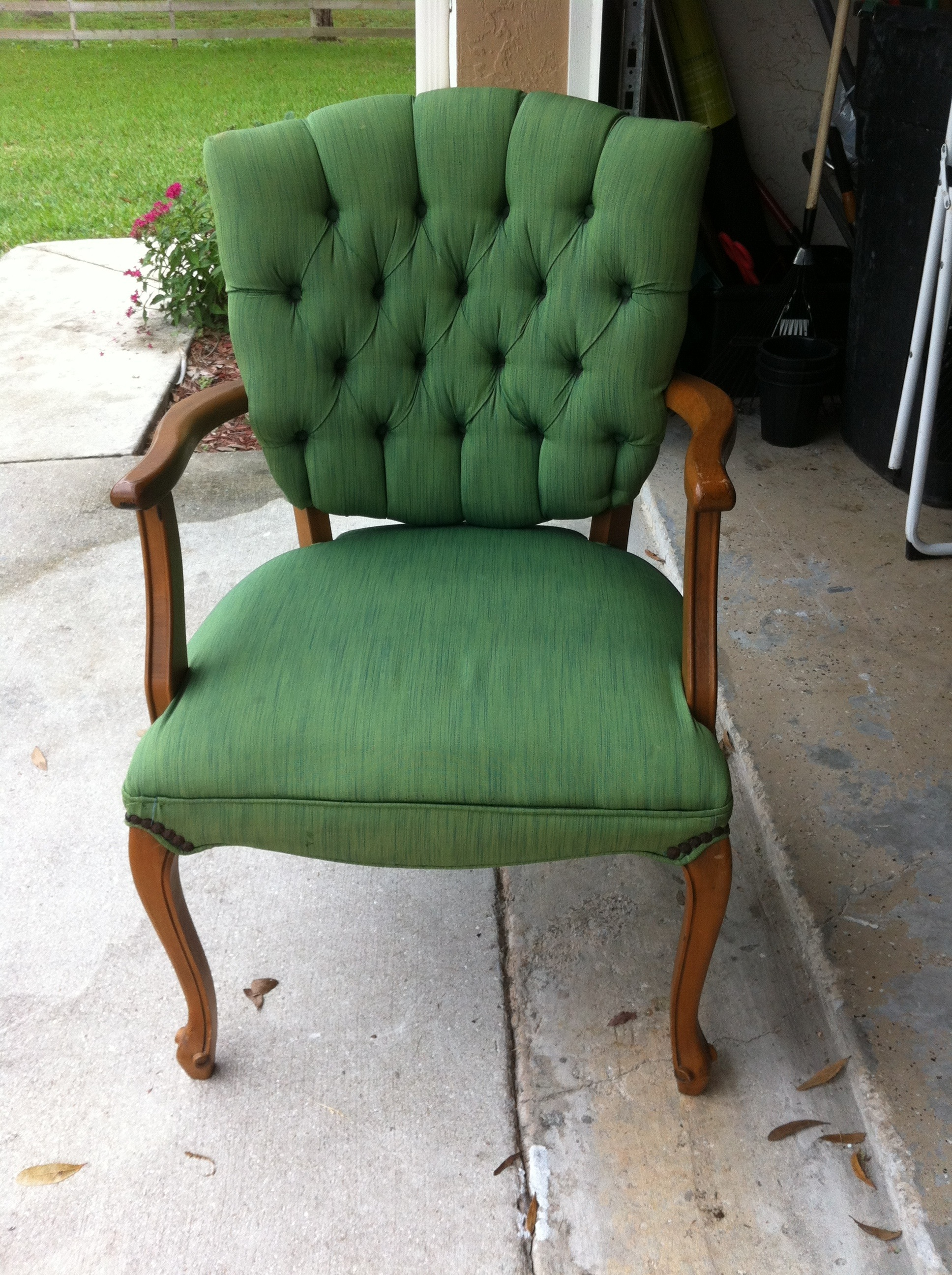 Green Chair Before Tulip Fabric Spray