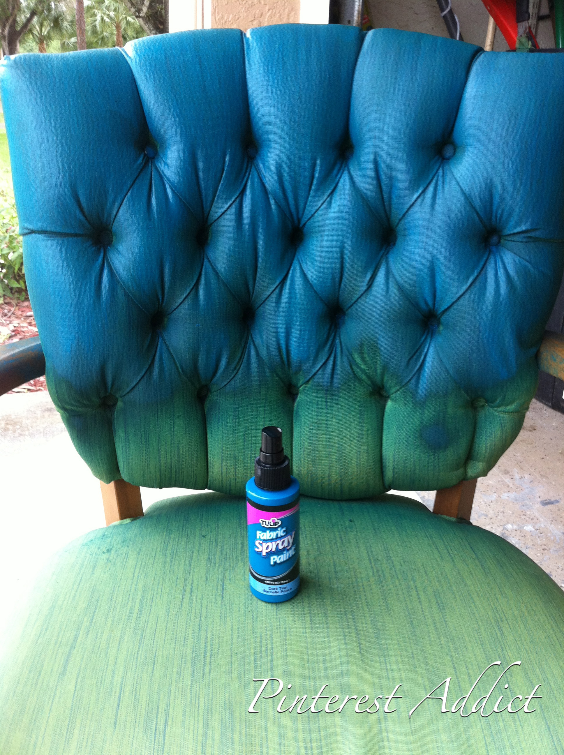 Fabric spray paint on green chair