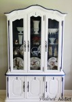Navy and White Painted China Cabinet