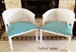 Repainted and Reupholstered Barrel Chairs