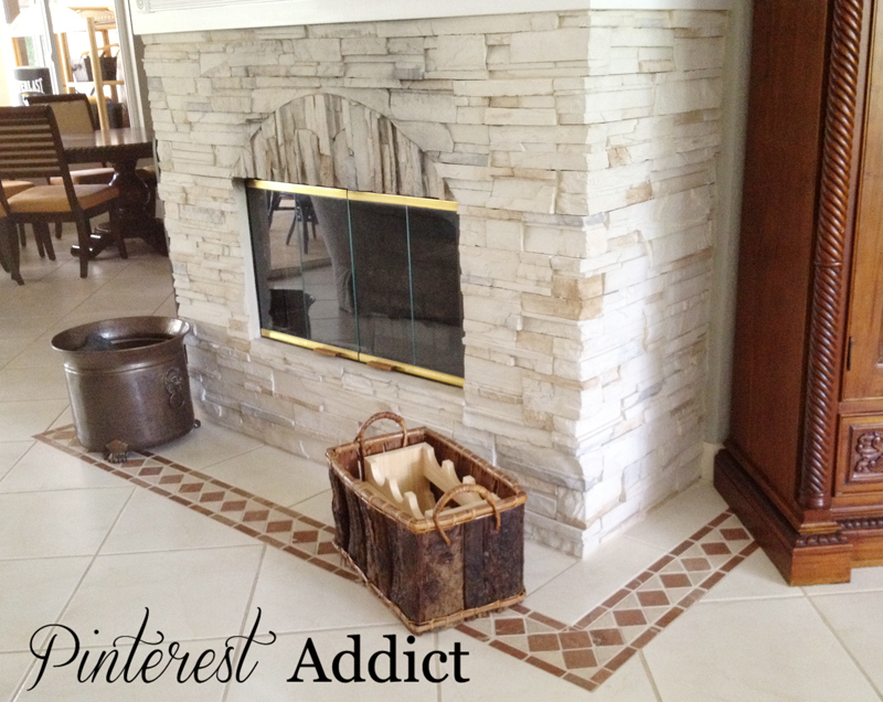 Painting Floor tile - Fireplace tile before