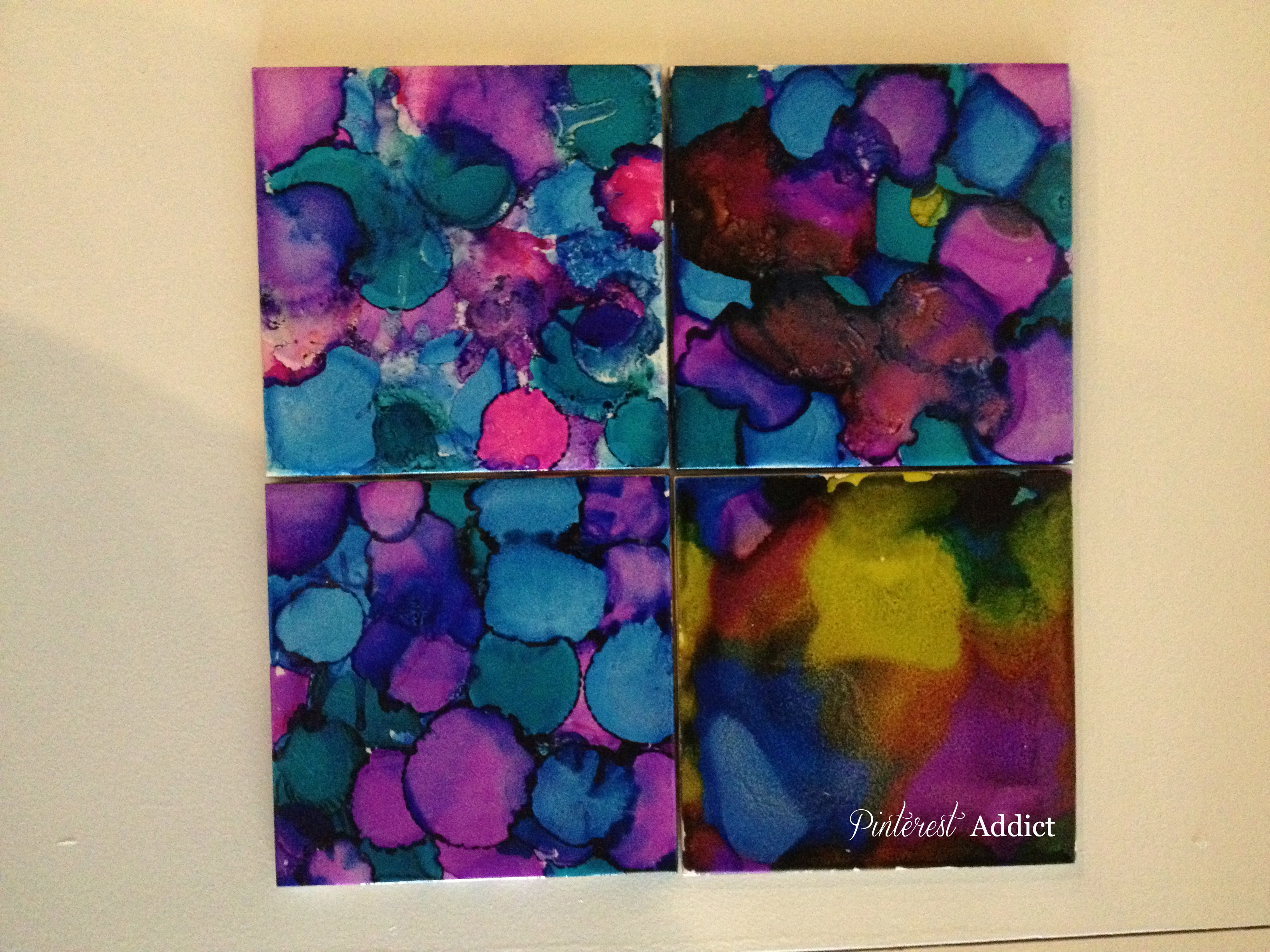 first attempts - alcohol ink coasters