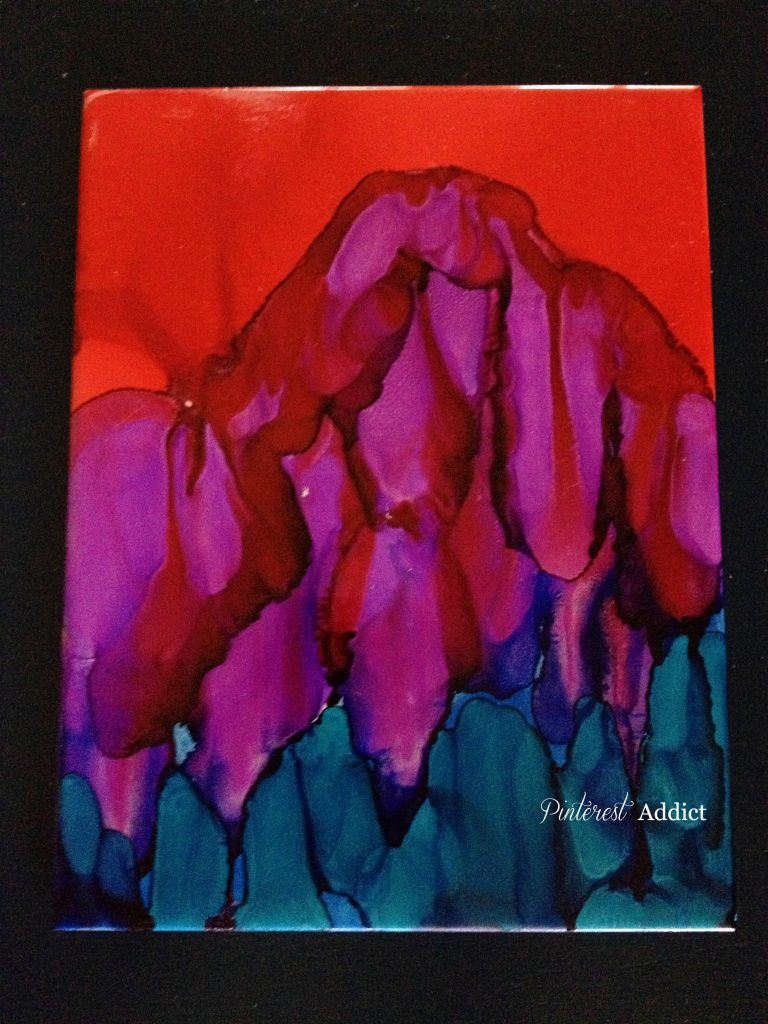 Alcohol ink, red volcano