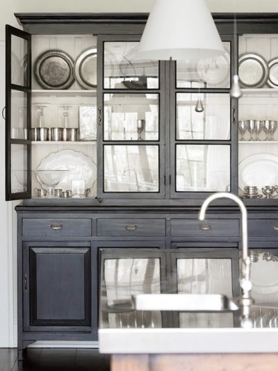 Black china cabinet with white back