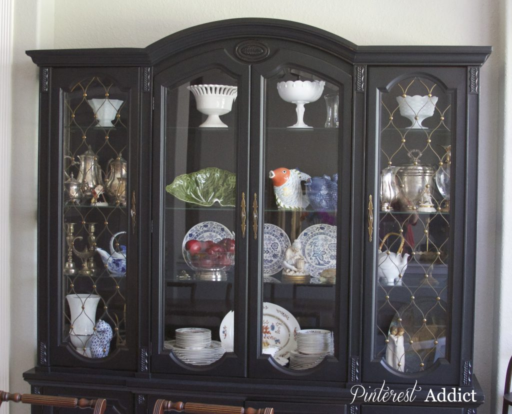 Front view Black China cabinet in Tricorn Black