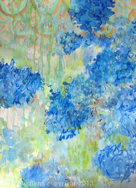 Blue Hydrangeas On Lime by Annie Flynn