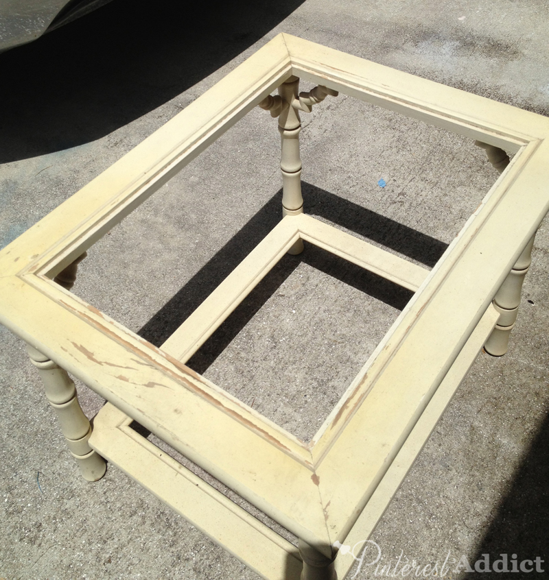 vintage bamboo side table before -